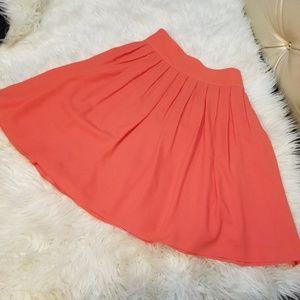 Tahari Coral Orange Pleated Skirt Size 12